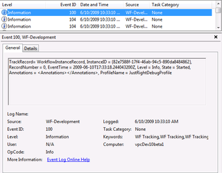 WF Tracking Record in Event Viewer (Click to Enlarge)